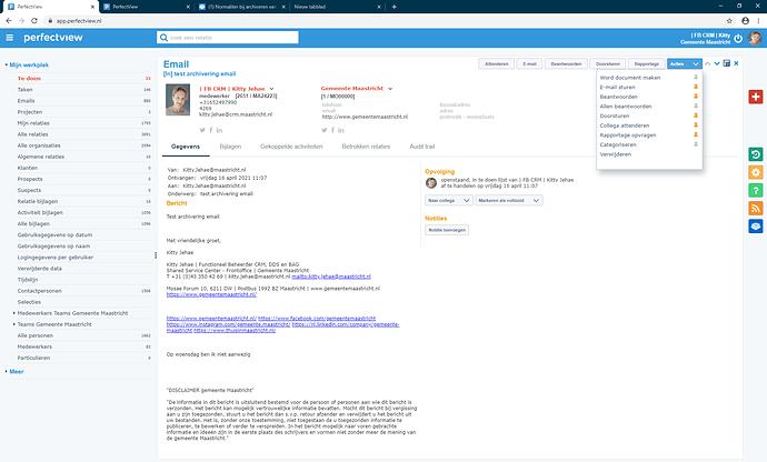 archiveren email - activiteit type wijzigen is niet aanwezig