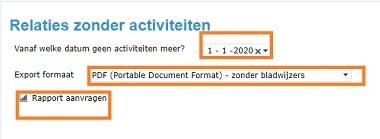 Screenshot rapportage relaties zonder activiteiten (2)